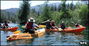 Rangers leading a kayak tour of Whiskeytown Lake