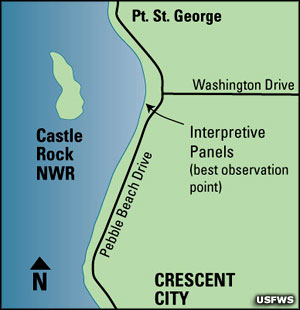 Map showing location of best view points for Castle Rock National Wildlife Refuge