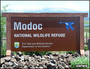 Modoc National Wildlife Refuge entry sign