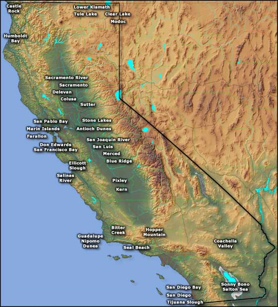 Map showing the locations of the National Wildlife Refuges in California