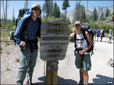 Hikers entering Ansel Adams Wilderness from Devils Postpile National Monument