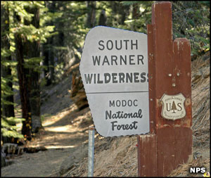 Wilderness sign at the edge of South Warner Wilderness