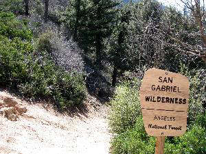 The wilderness boundary at San Gabriel Wilderness