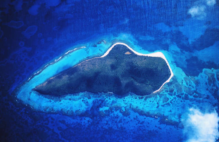 A satellite view of the Buck Island Reef National Monument area
