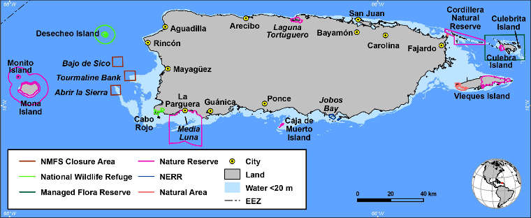 Map of the Caribbean islands National Wildlife Refuge Complex area