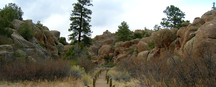 Looking up the entryway to Penitente Canyon Recreation Area