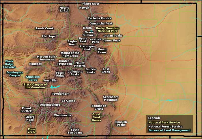Map showing the locations of Colorado Wilderness Areas