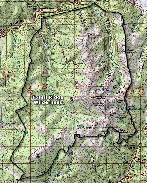 Fossil Ridge Wilderness map