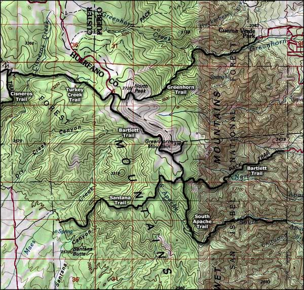 Greenhorn Mountain Wilderness map
