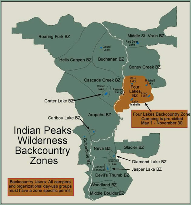 Indian Peaks Wilderness Zones
