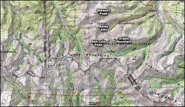 La Garita Wilderness map