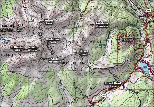 Lizard Head Wilderness map