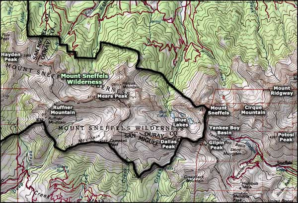 Mt. Sneffels Wilderness map