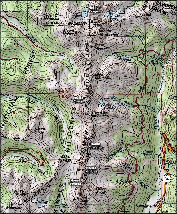 Never Summer Wilderness map