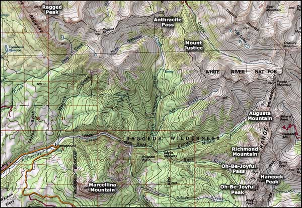 Raggeds Wilderness map