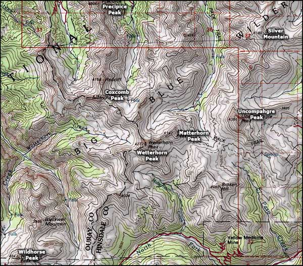 Uncompahgre Wilderness area map