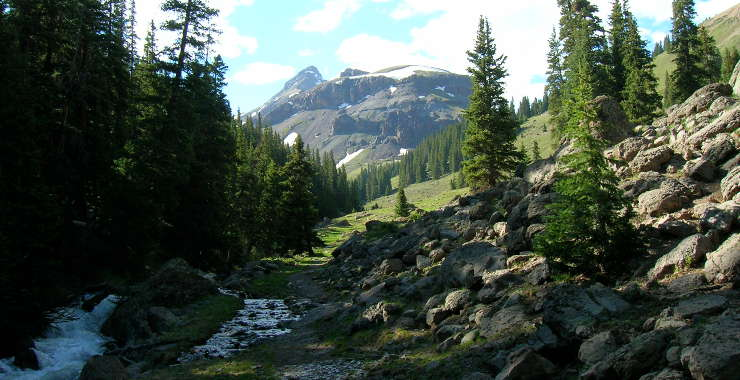 View of the trail into Uncompahgre Wilderness