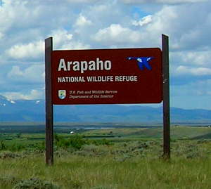 Boundary sign at Arapaho National Wildlife Refuge