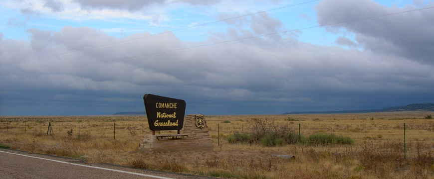 Sign marking Comanche National Grassland