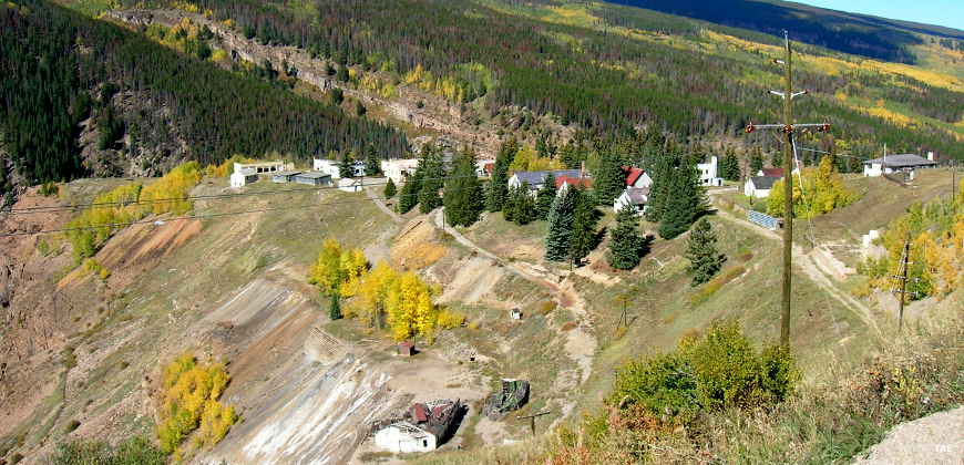 Looking down over a mining ghost town in White River National Forest