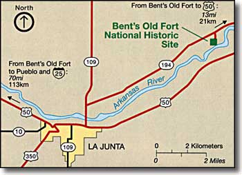 Bent's Old Fort area map