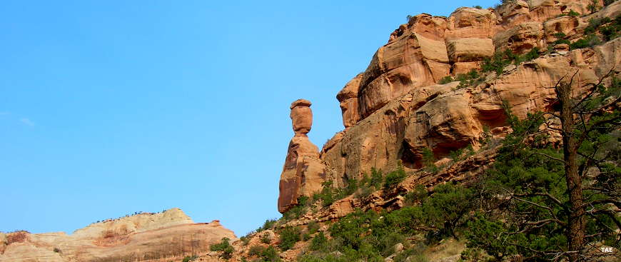 A balanced rock on the side of Fruita Canyon in Colorado National Monument