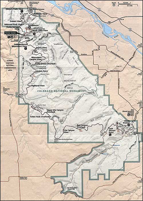 Map of Colorado National Monument