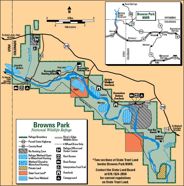 Map of Browns Park National Wildlife Refuge