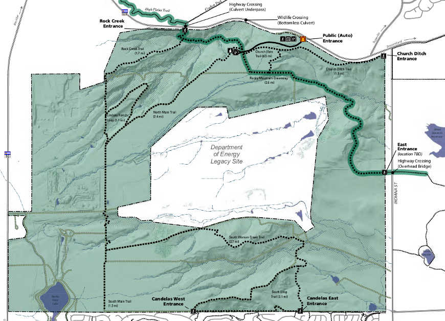 Map showing the routes of proposed hiking trails on Rocky Flats National Wildlife Refuge