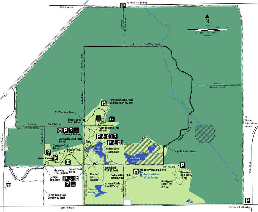 Map of hiking trails at Rocky Mountain Arsenal NWR