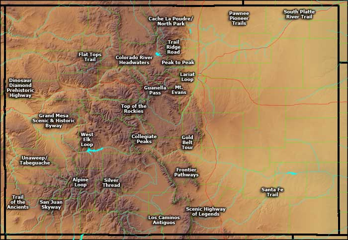 Locations of the Colorado Scenic Byways