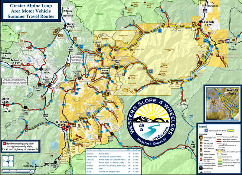 Alpine Loop Backcountry Byway area map