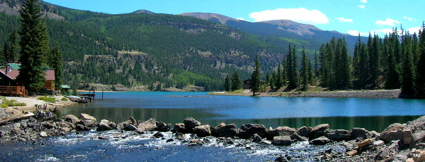 At the Lake San Cristobal dam on the Cinnamon Pass Road of the Alpine Loop Backcountry Byway