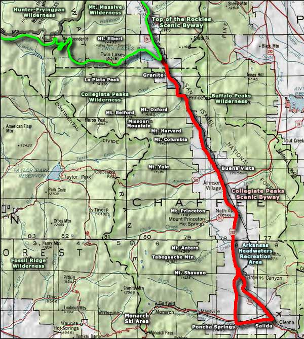 Collegiate Peaks Scenic Byway area map