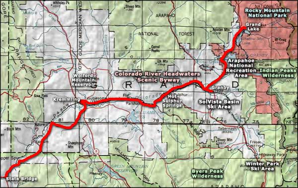 Colorado River Headwaters Scenic Byway area map
