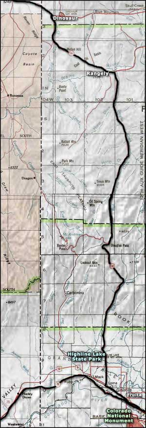 Map of the Colorado section of the Dinosaur Diamond Prehistoric Highway
