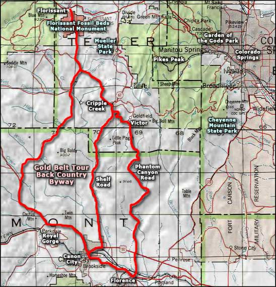 Gold Belt Tour Backcountry Byway area map