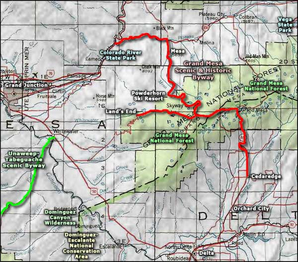 Grand Mesa Scenic Byway area map
