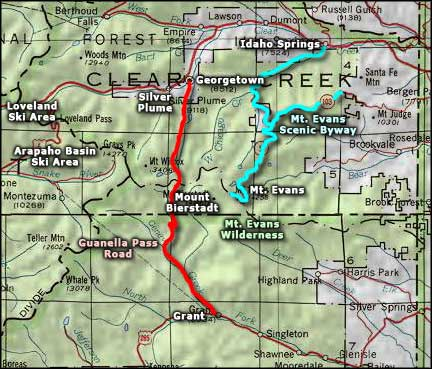 Guanella Pass Road area map