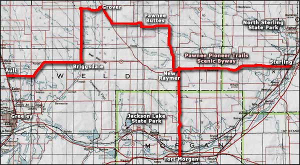 Pawnee Pioneer Trails Scenic Byway area map