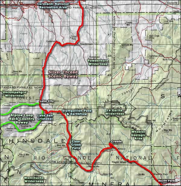 Silver Thread Scenic Byway area map
