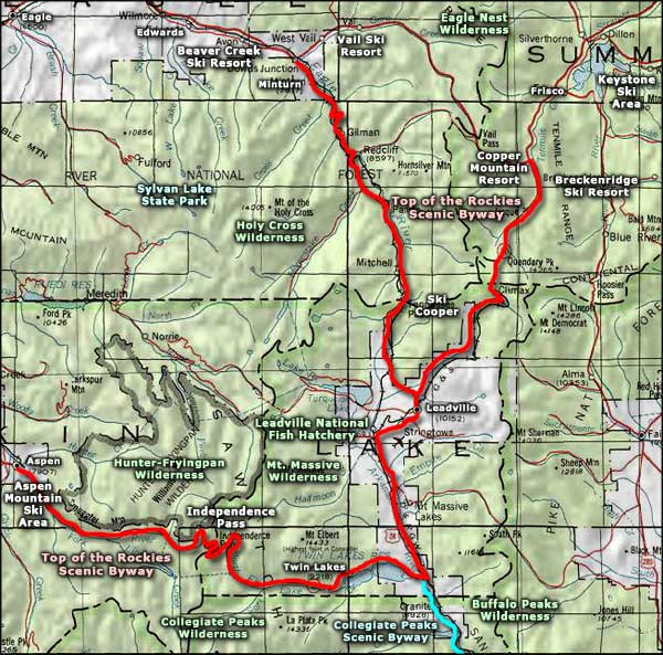 Top of the Rockies Scenic Byway area map