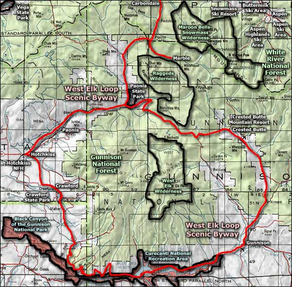 West Elk Loop Scenic Byway area map