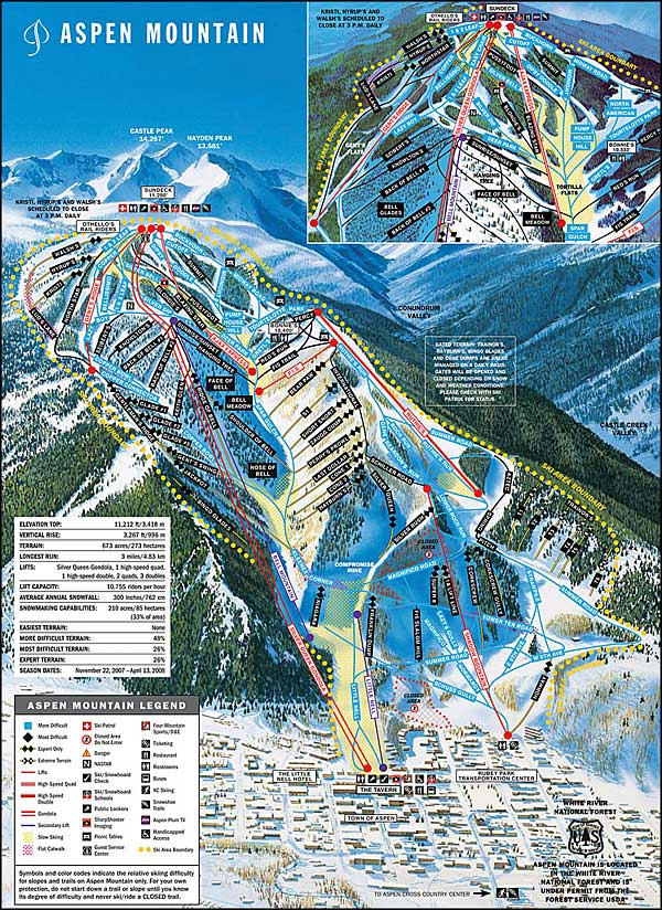 Aspen Mountain Ski Area ski trails map