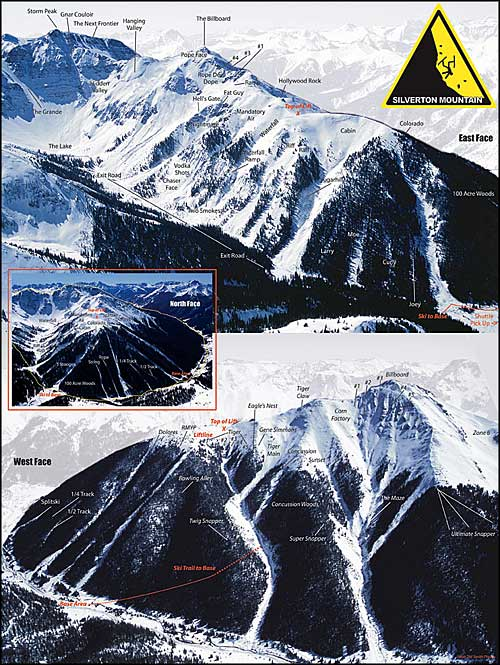 Silverton Mountain Ski Area trail map