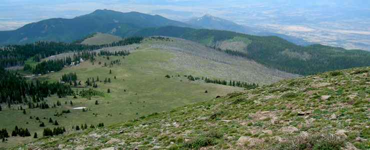 Looking south from Greenhorn Peak in Greenhorn Mountain Wilderness