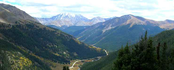 The view from the top of Independence Pass at the edge of the Collegiate Peaks Wilderness