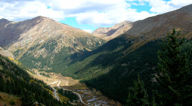 A view of Independence Pass along the Top of the Rockies Scenic Byway in Colorado