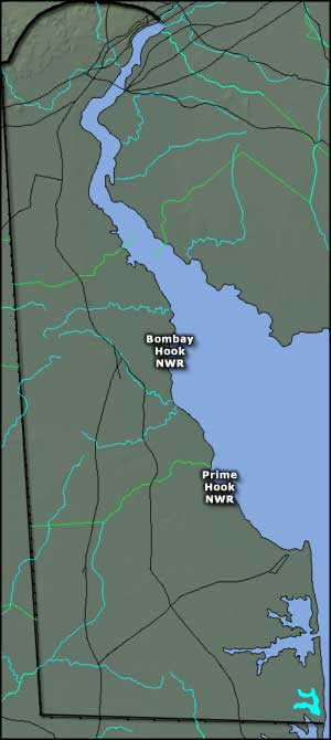 Map showing the locations of the National Wildlife Refuges in Delaware
