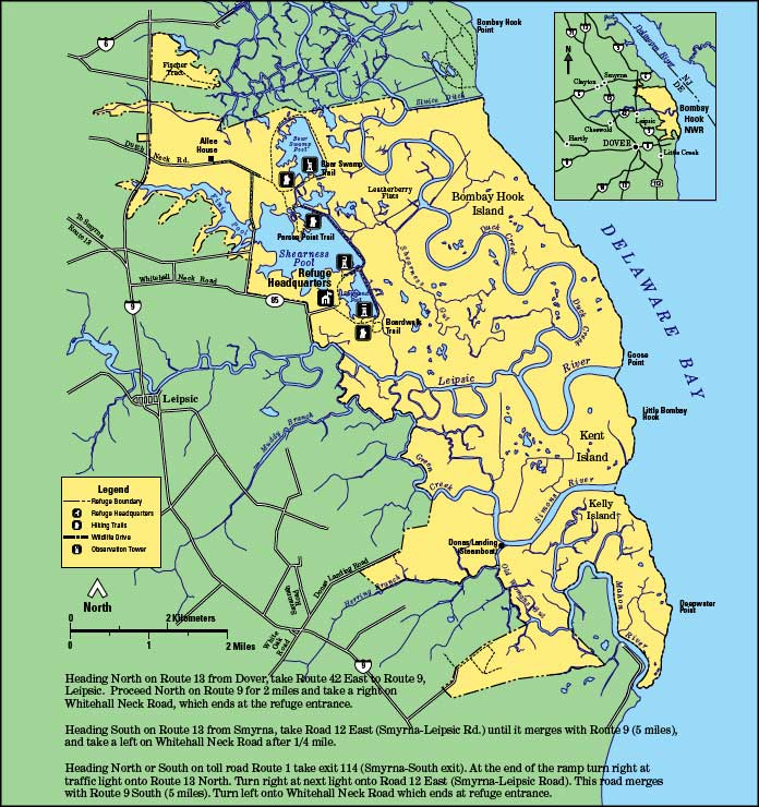 Map of Bombay Hook National Wildlife Refuge